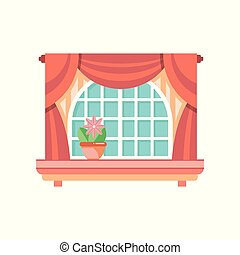 Retro wooden window frame with curtains, architectural design element vector Illustration on a white background