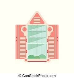 Retro wooden window frame with shutters, architectural design element vector Illustration on a white background