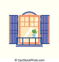 Retro wooden window with blue shutters, architectural design element vector Illustration on a white background