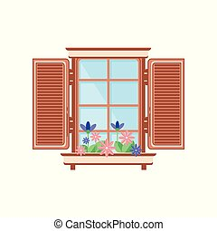 Retro wooden window with shutters and plants, architectural design element vector Illustration on a white background