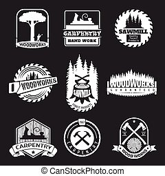 Retro woodwork and carpentry vector logo set in letterpress ...