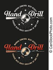 Retro workshop logo with hand drill