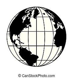 retro world map navigation icon