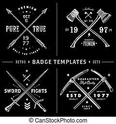 Retro X Badge and Vintage Logo Template Set