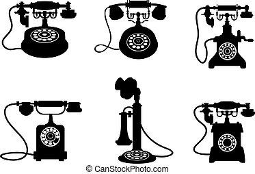 retro, y, vendimia, teléfonos
