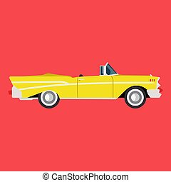 Retro yellow car side view flat icon auto. Classic vehicle illustration design transportation vintage art. Old engine transport cartoon symbol. Drawing style exclusive fashioned revival machine