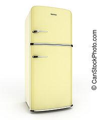 Retro yellow fridge - 3d render of a retro yellow...