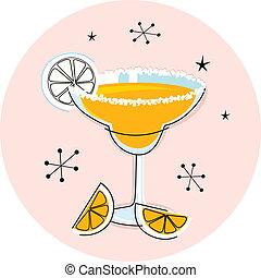 Retro yellow margarita isolated on white - Margarita drink...