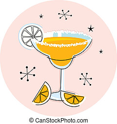 Margarita drink in hand drawn retro style. Vector Illustration