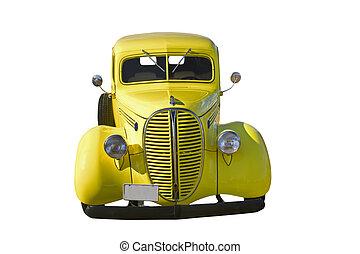 retro yellow pickup front