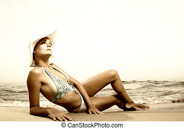 Young beautiful tanned woman - Retro Young beautiful tanned...