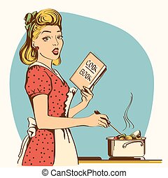 Retro young woman cooking soup in her kitchen room. Vector color illustration