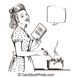 Young woman in retro dress cooking soup in her kitchen room. Reto style poster with speech bubble for text
