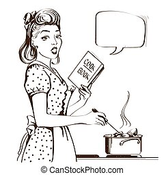 Retro young woman cooking soup in her kitchen room.Vector graphic illustration