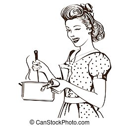 Retro young woman in retro clothes cooking soup in her ...