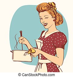 Retro young woman in retro clothes cooking soup. - Retro ...