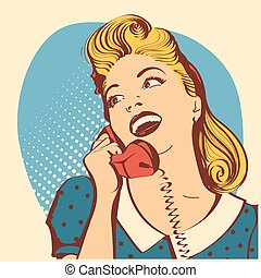 Retro young woman with blond hair talking on phone. Vector pop art color illustration