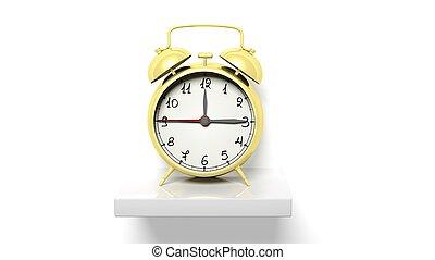 retro, złoty, budzik, na białym, ściana, półka