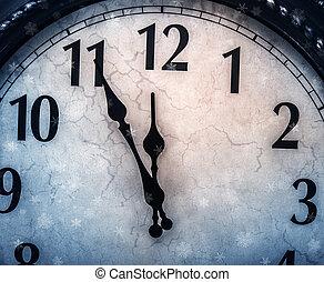 retro, zegar, z, piątka, minuty, przed, twelve.