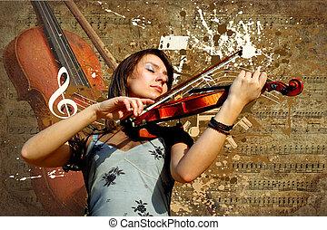 retro, zenés, grunge, hegedű, háttér