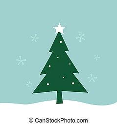 retro, zima, wesołe boże narodzenie, drzewo