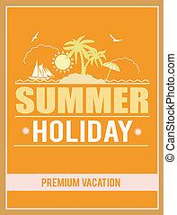 retro, zomer vakantie, poster