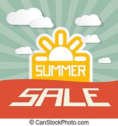 retro, zomer, verkoop, papier, titel, op, landscape, achtergrond, met, zon, en, wolken