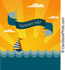 retro, zomer, verkoopaffiche, infographic, illustratie