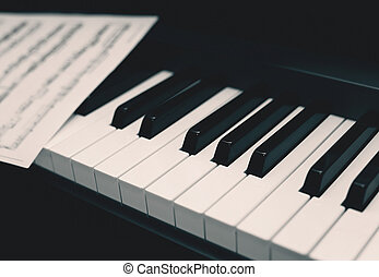 retro, zongora, noha, hangjegy, zene, háttér