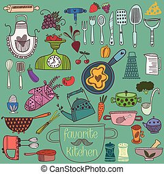 Retrocolorful set of kitchen tools. Vector illustration of kitchen doodles collection-Pan, skillet, apron, scales, mixer and other