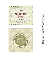 retro/modern, etiketter, to, beige