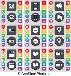 Retrophone, Smartphone, CCTV, New, Minus, Checkpoint, Calendar, Chat bubble, Cassette icon symbol. A large set of flat, colored buttons for your design.