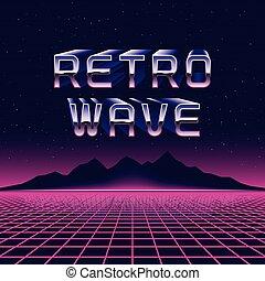 retrowave, illustration., montagnes, vecteur, grille, laser, 80s, concept, retro, futuriste