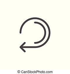 Retry arrow line icon isolated on white. Vector illustration