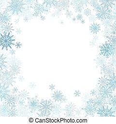 rettangolare, cornice, con, piccolo, blu, fiocchi neve