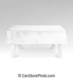 rettangolare, realistico, white., vector., tavola, tovaglia, vuoto