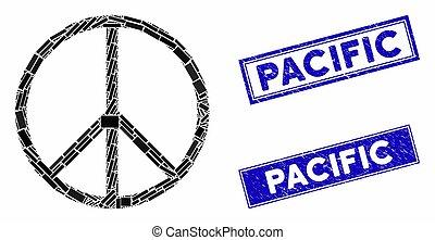 rettangolo, simbolo, pacifico, graffiato, francobollo,...