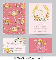 Satz Wedding Herbst Datum Thema Vektor Einladung Blumen