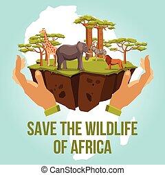 retten, der, tierwelt, von, afrikas, begriff