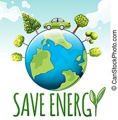 retten, energie, thema, mit, auto, und, bäume