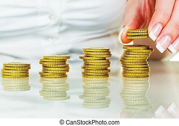retten, geldmünzen, frau, geldhaufen