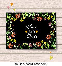 retten, liebe, bouquet., karte, blumen-, aquarell, datum
