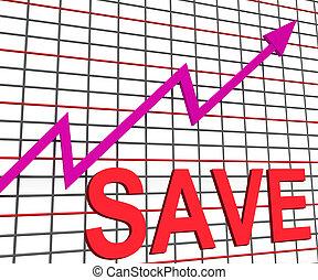 retten, tabelle, schaubild, shows, steigend, spareinlagen, investition