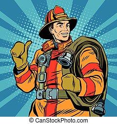 rettung, feuerwehrmann, in, sicher, helm, und, uniform,...