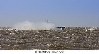 rettungsboot, an, voll, geschwindigkeit, in, stürmisches wetter