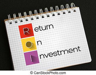 retur, investering, -, roi, akronym
