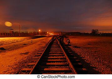 retur, nej, ledande, peka, återstående tid spåret, tåg
