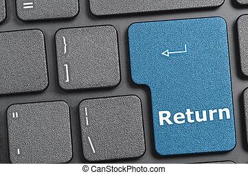 Return key on keyboard - Blue return key on keyboard