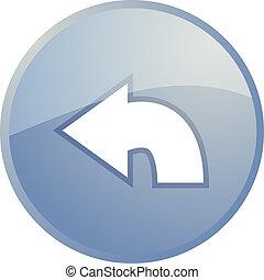 Return navigation icon glossy button, round shape