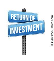 return of investment sign illustration design over a white...
